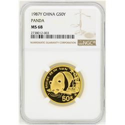 1987 China 50 Yuan Panda Gold Coin NGC MS68