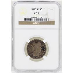 1896-S Barber Quarter Silver Coin NGC AG3