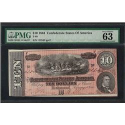 1864 $10 Confederate States of America Note T-68 PMG Choice Uncirculated 63EPQ