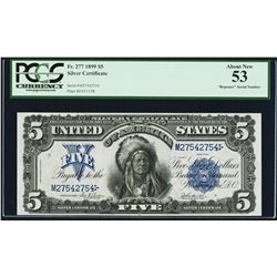 1899 $5 'Indian Chief' Silver Certificate Note Repeater Serial PCGS About New 53
