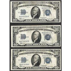 Lot of (3) 1934 $10 Silver Certificate Notes