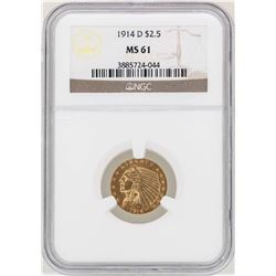 1914-D $2 1/2 Indian Head Quarter Eagle Gold Coin NGC MS61