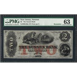 1800's $2 The Sussex Bank Obsolete Note PMG Choice Uncirculated 63