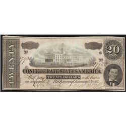 1864 $20 Confederate States of America Note