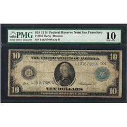 1914 $10 Federal Reserve Note San Francisco Fr.950 PMG Very Good 10