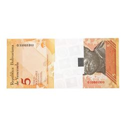 Pack of (100) Consecutive Venezuela 5 Bolivares Uncirculated Notes