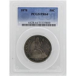 1870 Seated Liberty Half Dollar Proof Coin PCGS PR64