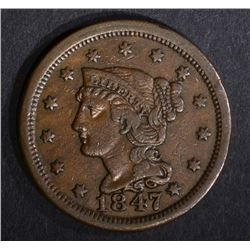 1847 LARGE CENT, CH XF