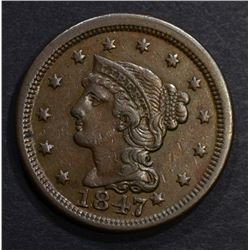 1847/7 LARGE CENT, CH XF+