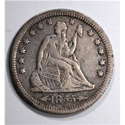 1855-S SEATED QUARTER, XF  KEY DATE