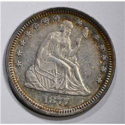 1877 SEATED QUARTER, BEAUTIFUL ORIGINAL CH BU