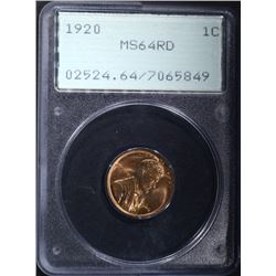"1920 LINCOLN CENT, PCGS MS-64 RD ""RATTLER"" HOLDER"