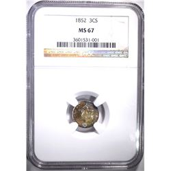 1852 3-CENT SILVER, NGC MS-67 RAINBOW COLORS