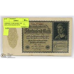 GERMAN 10,000 MARK 1922 INFLATION BANK NOTE.