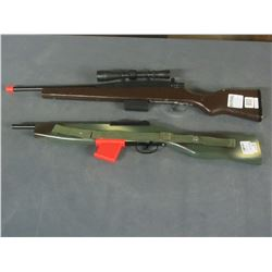 2 Kids Pretend play rifle / brown one has working scope and bolt action