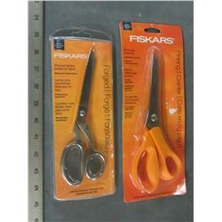 2 New pairs of Fiskars Scissors / 1 fabric forged and 1 Pinking shears