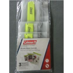 New 3 pack of Coleman splash-proof  pouches / 5x7 - 7x10 - 10.5x13.5