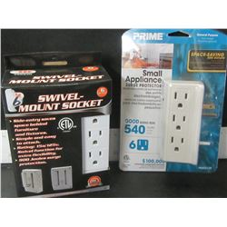 2 New 6 outlet Surge Protection Sockets / 1 swivel & 1 side space saver