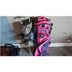 PINK GOLF BAG AND SHAGGER WITH BALLS
