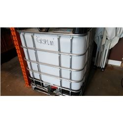 1000 LITRE PLASTIC CONTAINER IN WIRE BASKET