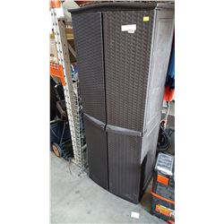 PLASTIC WICKER LOOK 6 FOOT CUPBOARD