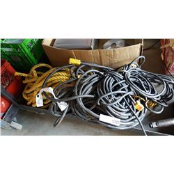 LOT OF EXTENTION CORDS AND HEAVY DUTY ROPE