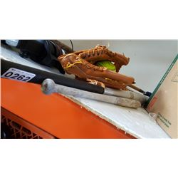 BASEBALL GLOVE BAT AND BALL