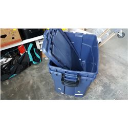 TWO LARGE RUBBERMAID LATCH TOTES
