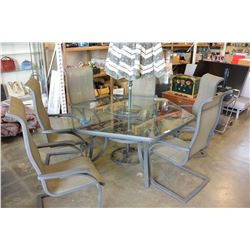 GLASSTOP PATIO TABLE WITH 6 CHAIRS