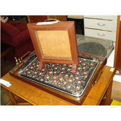 VINTAGE GLASS TEA TRAY RETRO TRAY AND WOOD SHADOW BOX
