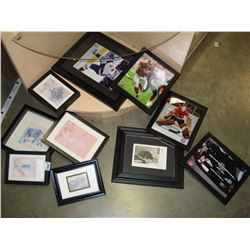 LOT OF SMALL BLACK FRAMED PICTURES