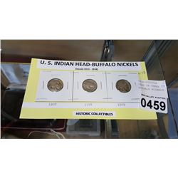 CARD OF THREE US INDIAN HEAD BUFFALO NICKELS