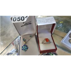 STERLING ENAMELED PENDANT NECKLACE AND PERIDOT EARRINGS AND DINNER RING
