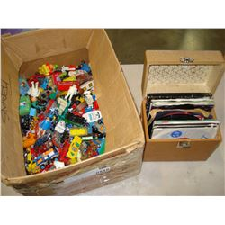 BOX OF DINKY CARS LESNEY ETC AND BOX OF 45 RECORDS