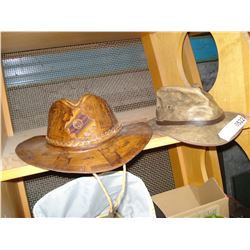 2 LEATHER HATS