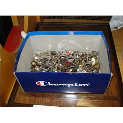 BOX OF COLLECTOR SPOONS AND DISPLAY CASE