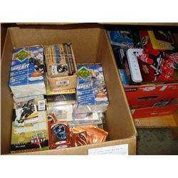 BOX OF HOCKEY CARDS AND BOX OF HOCKEY COLLECTOR TINS