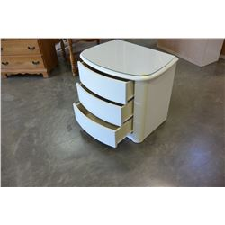 WHITE MODERN MIRRORED HEADBOARD AND GLASS TOP NIGHTSTAND