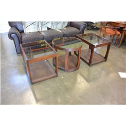THREE PIECE GLASS TOP ENDTABLE SET