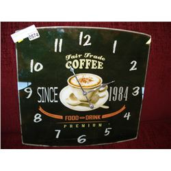FAIR TRADE COFFEE GLASS CLOCK