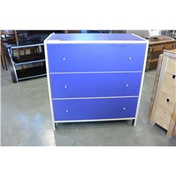 THREE DRAWER BLUE DRESSER