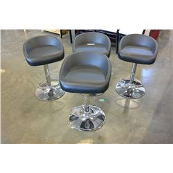 SET OF FOUR MODERN BLACK AND CHROME BARSTOOLS