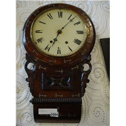 ANTIQUE INLAY WALL CLOCK WITH KEY ENAMEL FACE