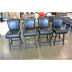 SET OF 4 AS NEW BLACK LEATHER SWIVEL BAR STOOLS RETAIL $249 EACH