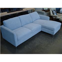 NEW MODERN GREY FABRIC 2 PIECE SECTIONAL SOFA RETAIL $1899