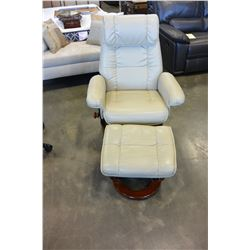 BEIGE LEATHER RECLINER CHAIR WITH OTTOMAN