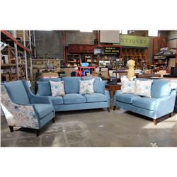 NEW COMFORTLAND MODERN 3 PIECE SOFA SET, WITH ACCENT CHAIR, GEL AND FEATHER DOWN REMOVABLE CUSHIONS