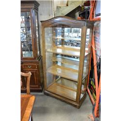 VINTAGE GLASS DOOR DISPLAY CABINET WALNUT WITH KEY