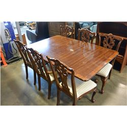 MAHOGANY PAW FOOT DINING TABLE WITH 8 CARVED CHAIRS AND 2 LEAFS