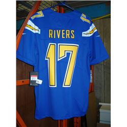 NEW SAN DIEGO CHARGER PHILIP RIVERS JERSEY, AUTHENTIC SIZE LARGE
